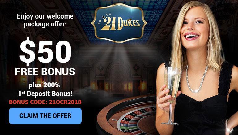 Királyi üdvözlés: 50 dolláros ingyenes bónusz a 21Dukes Casino-nál
