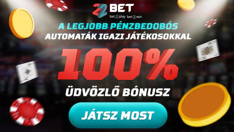 22Bet Casino - ÜDVÖZLŐ BÓNUSZ €300 100% Elérési Bónusz
