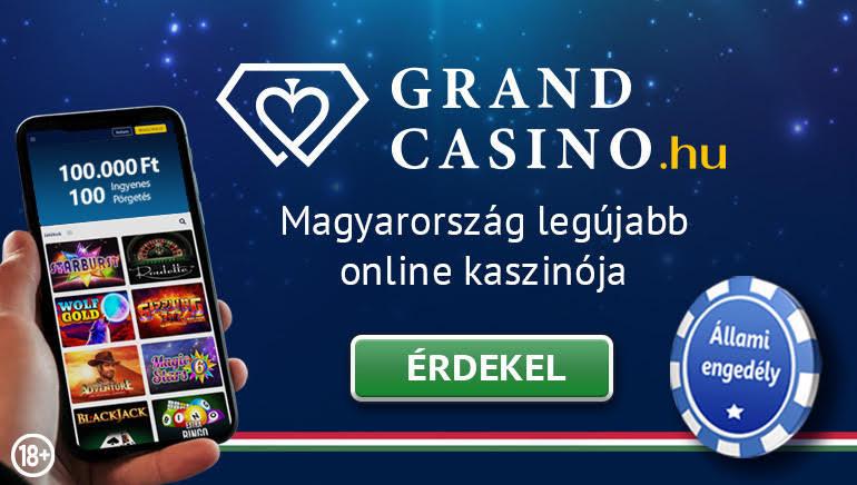 Grand Casino - ÜDVÖZLŐ BÓNUSZ Ft100000 Kód: WELCOME1 150% Elérési Bónusz (Min. Befizetés: Ft6000) + INGYENES SPIN BONUSZ 100 Ingyen Nyerőgépek Bónusz