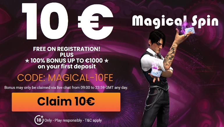 A MagicalSpin Casino 10 euró ingyen pénzzel köszönti az új játékosokat