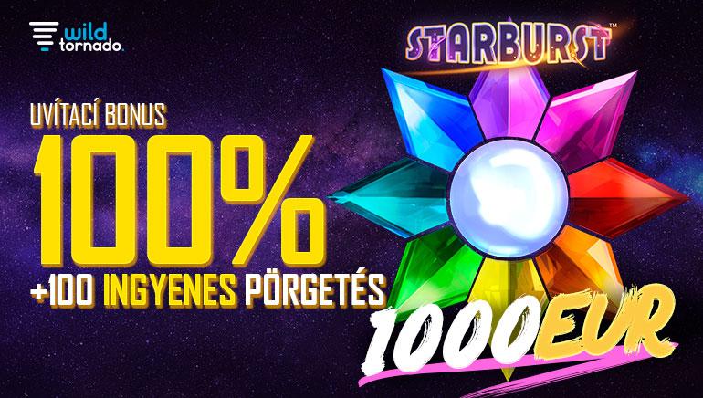 WildTornado Casino - ÜDVÖZLŐ BÓNUSZ €1000 Kód: WILD100 100% Elérési Bónusz (Min. Befizetés: €10) + INGYENES SPIN BONUSZ 100